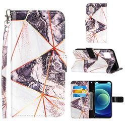 Black and White Stitching Color Marble Leather Wallet Case for iPhone 13 (6.1 inch)