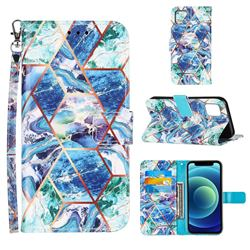 Green and Blue Stitching Color Marble Leather Wallet Case for iPhone 13 (6.1 inch)