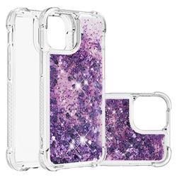Dynamic Liquid Glitter Sand Quicksand Star TPU Case for iPhone 13 (6.1 inch) - Purple