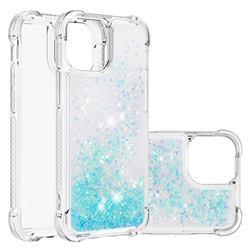 Dynamic Liquid Glitter Sand Quicksand TPU Case for iPhone 13 (6.1 inch) - Silver Blue Star