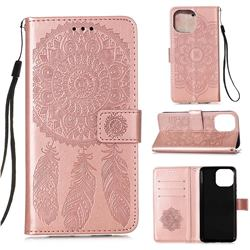 Embossing Dream Catcher Mandala Flower Leather Wallet Case for iPhone 13 (6.1 inch) - Rose Gold