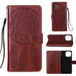 Embossing Dream Catcher Mandala Flower Leather Wallet Case for iPhone 13 (6.1 inch) - Brown