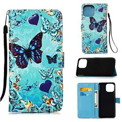 Love Butterfly Matte Leather Wallet Phone Case for iPhone 13 (6.1 inch)