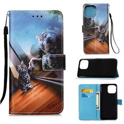 Mirror Cat Matte Leather Wallet Phone Case for iPhone 13 (6.1 inch)