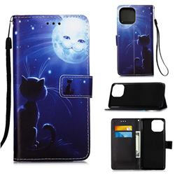 Cat and Moon Matte Leather Wallet Phone Case for iPhone 13 (6.1 inch)