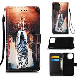 Cat and Tiger Matte Leather Wallet Phone Case for iPhone 13 (6.1 inch)