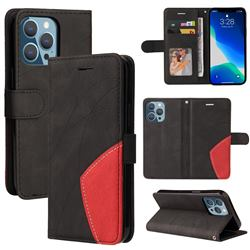 Luxury Two-color Stitching Leather Wallet Case Cover for iPhone 13 (6.1 inch) - Black