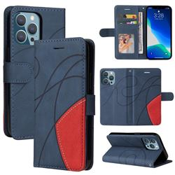 Luxury Two-color Stitching Leather Wallet Case Cover for iPhone 13 (6.1 inch) - Blue