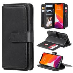 Multi-function Ten Card Slots and Photo Frame PU Leather Wallet Phone Case Cover for iPhone 13 (6.1 inch) - Black