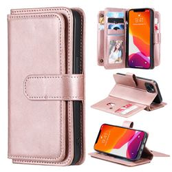 Multi-function Ten Card Slots and Photo Frame PU Leather Wallet Phone Case Cover for iPhone 13 (6.1 inch) - Rose Gold