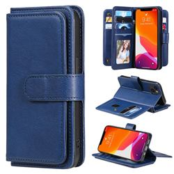 Multi-function Ten Card Slots and Photo Frame PU Leather Wallet Phone Case Cover for iPhone 13 (6.1 inch) - Dark Blue