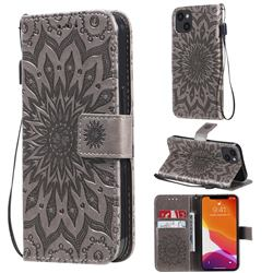 Embossing Sunflower Leather Wallet Case for iPhone 13 (6.1 inch) - Gray