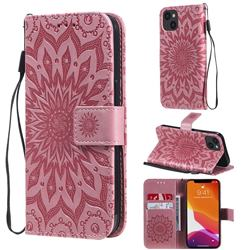 Embossing Sunflower Leather Wallet Case for iPhone 13 (6.1 inch) - Pink