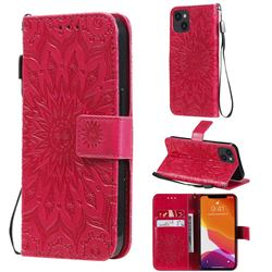 Embossing Sunflower Leather Wallet Case for iPhone 13 (6.1 inch) - Red