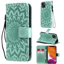 Embossing Sunflower Leather Wallet Case for iPhone 13 (6.1 inch) - Green