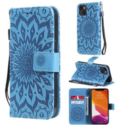 Embossing Sunflower Leather Wallet Case for iPhone 13 (6.1 inch) - Blue