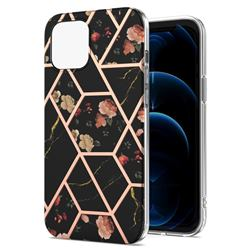 Black Rose Flower Marble Electroplating Protective Case Cover for iPhone 13 (6.1 inch)