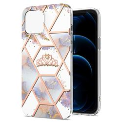 Crown Purple Flower Marble Electroplating Protective Case Cover for iPhone 13 (6.1 inch)