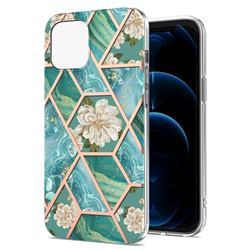 Blue Chrysanthemum Marble Electroplating Protective Case Cover for iPhone 13 (6.1 inch)