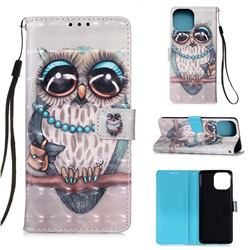 Sweet Gray Owl 3D Painted Leather Wallet Case for iPhone 13 (6.1 inch)