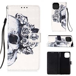 Skull Flower 3D Painted Leather Wallet Case for iPhone 13 (6.1 inch)