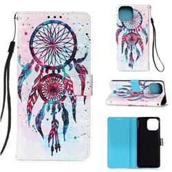 ColorDrops Wind Chimes 3D Painted Leather Wallet Case for iPhone 13 (6.1 inch)
