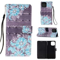 Blue Flower 3D Painted Leather Wallet Case for iPhone 13 (6.1 inch)