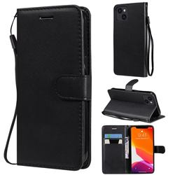 Retro Greek Classic Smooth PU Leather Wallet Phone Case for iPhone 13 (6.1 inch) - Black