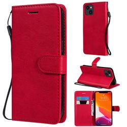 Retro Greek Classic Smooth PU Leather Wallet Phone Case for iPhone 13 (6.1 inch) - Red