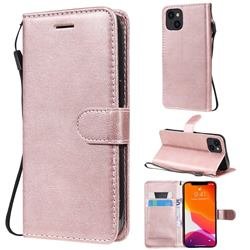 Retro Greek Classic Smooth PU Leather Wallet Phone Case for iPhone 13 (6.1 inch) - Rose Gold