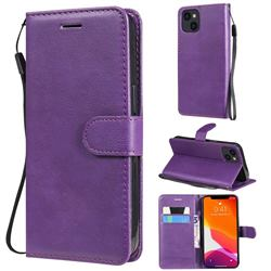 Retro Greek Classic Smooth PU Leather Wallet Phone Case for iPhone 13 (6.1 inch) - Purple