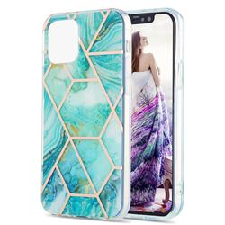 Blue Sea Marble Pattern Galvanized Electroplating Protective Case Cover for iPhone 13 mini (5.4 inch)