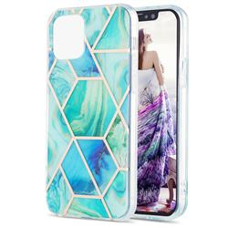 Green Glacier Marble Pattern Galvanized Electroplating Protective Case Cover for iPhone 13 mini (5.4 inch)