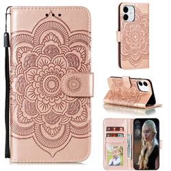 Intricate Embossing Datura Solar Leather Wallet Case for iPhone 13 mini (5.4 inch) - Rose Gold