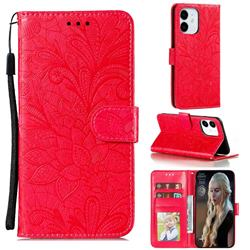 Intricate Embossing Lace Jasmine Flower Leather Wallet Case for iPhone 13 mini (5.4 inch) - Red