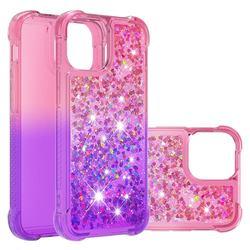 Rainbow Gradient Liquid Glitter Quicksand Sequins Phone Case for iPhone 13 mini (5.4 inch) - Pink Purple
