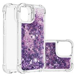 Dynamic Liquid Glitter Sand Quicksand Star TPU Case for iPhone 13 mini (5.4 inch) - Purple