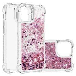 Dynamic Liquid Glitter Sand Quicksand Star TPU Case for iPhone 13 mini (5.4 inch) - Diamond Rose