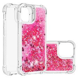 Dynamic Liquid Glitter Sand Quicksand TPU Case for iPhone 13 mini (5.4 inch) - Pink Love Heart