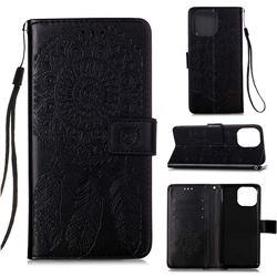 Embossing Dream Catcher Mandala Flower Leather Wallet Case for iPhone 13 mini (5.4 inch) - Black