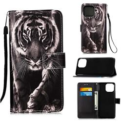 Black and White Tiger Matte Leather Wallet Phone Case for iPhone 13 mini (5.4 inch)