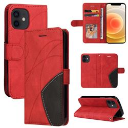 Luxury Two-color Stitching Leather Wallet Case Cover for iPhone 13 mini (5.4 inch) - Red