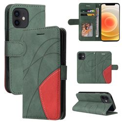 Luxury Two-color Stitching Leather Wallet Case Cover for iPhone 13 mini (5.4 inch) - Green