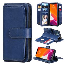 Multi-function Ten Card Slots and Photo Frame PU Leather Wallet Phone Case Cover for iPhone 13 mini (5.4 inch) - Dark Blue