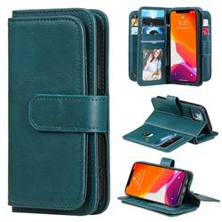Multi-function Ten Card Slots and Photo Frame PU Leather Wallet Phone Case Cover for iPhone 13 mini (5.4 inch) - Dark Green