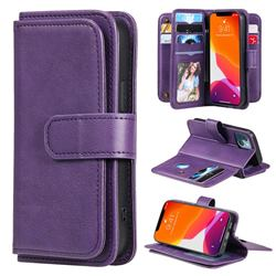 Multi-function Ten Card Slots and Photo Frame PU Leather Wallet Phone Case Cover for iPhone 13 mini (5.4 inch) - Violet