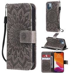 Embossing Sunflower Leather Wallet Case for iPhone 13 mini (5.4 inch) - Gray