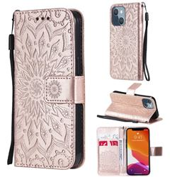 Embossing Sunflower Leather Wallet Case for iPhone 13 mini (5.4 inch) - Rose Gold