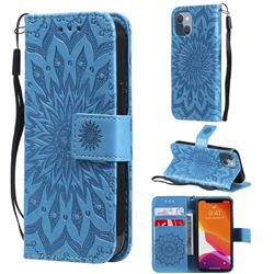 Embossing Sunflower Leather Wallet Case for iPhone 13 mini (5.4 inch) - Blue