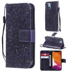 Embossing Sunflower Leather Wallet Case for iPhone 13 mini (5.4 inch) - Purple